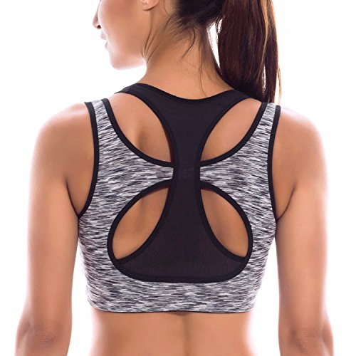 SYROKAN Women's High Impact Full Support Workout Racerback Yoga Sports Bra Top Multicoloured #5 XS