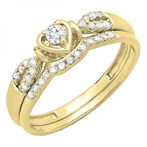 Dazzlingrock Collection 0.25 Carat (ctw) 14K Diamond Ladies Heart Shaped Bridal Engagement Ring Band Set 1/4 CT, Yellow Gold, Size 7 ()