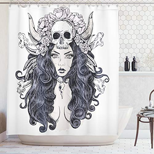 Ambesonne Gothic Decor Collection, Woman with Long Hair and Horns Roses Skull Mysterious Hunted Folklore Artwork, Polyester Fabric Bathroom Shower Curtain Set with Hooks, Grey Black White ()
