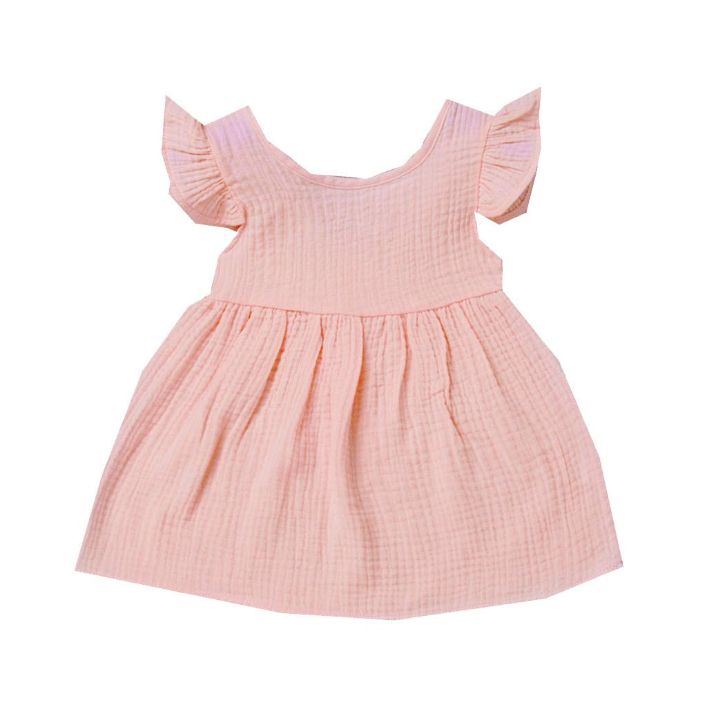Cyhulu Newborn Baby Girls Fly Sleeve Solid Princess Dresses Outfits Clothes 6M-3Years