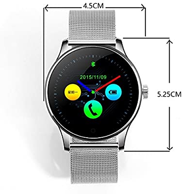 SEPVER All-in-1 K88h Smart Watch Round IPS Screen Bluetooth 4.0 Heart Rate Monitor Pedometer sync Calls and Messages Compatible with iPhone and Android Smart Phones