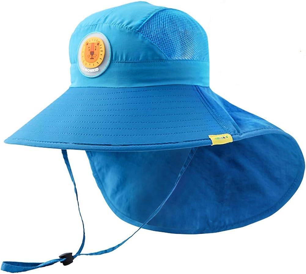 Kids Sun Hat Toddler Summer UPF 50+ Sun Protection Hat Baby Kids Beach Hat Wide Brim Bucket Hat with Neck Flap & Drawstring