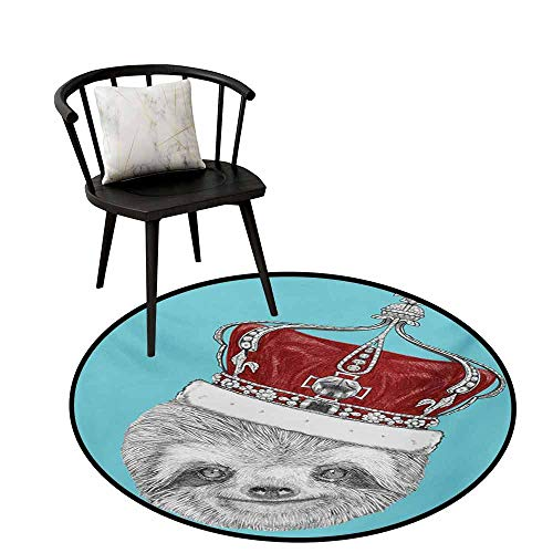 (Warm Round Rug Sloth Unique Design Cute Hand Drawn Animal with Imperial Ancient Crown King of Laziness Theme,D35(90cm) Aqua Burgundy Grey)