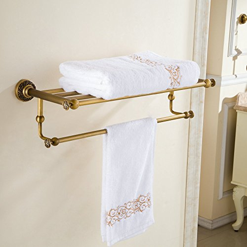 Hiendure Hotel Bathroom Towel Shelf, Antique Brass