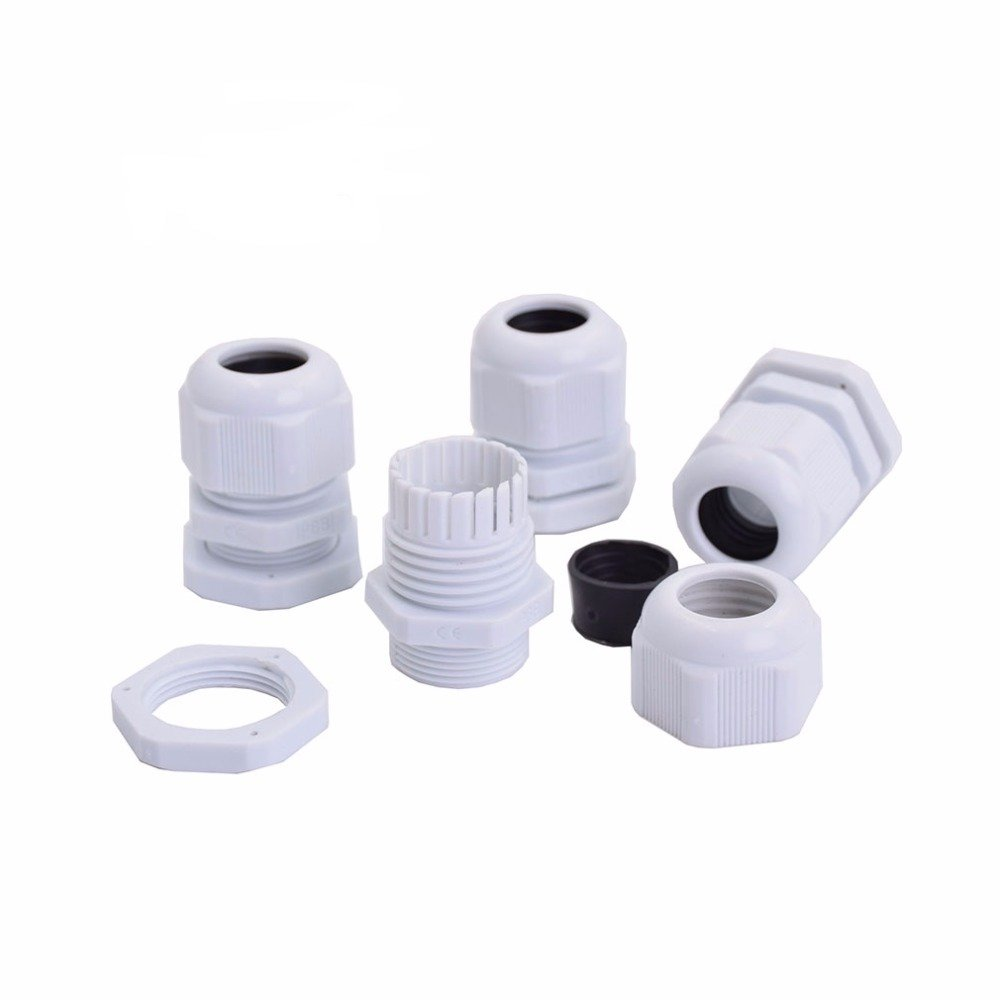 Cable Glands Suyep PG21 Black White Waterproof Adjustable Nylon Connectors Joints With Gaskets 13-18mm For Electrical Appliances (50, White)