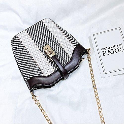 Bandoulière à Messenger épaule Sac Chaîne Fashion body Sac Pour Sacs Filles à Paille Les Black Cross Rayé Main g5Hxwwd