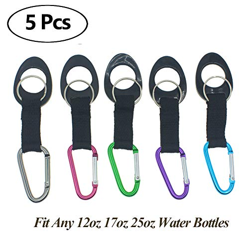 Durable Silicone Water Bottle Holder Clip Hook Carrier with Carabiner attachment & Key Ring, Fits Any Disposable Water Bottles for Outdoor Activities Bike Camping Hiking Traveling Daily Use (2)