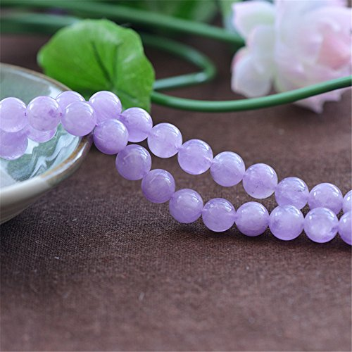 Grade AAA Natural Light Purple Jade Beads Lavender Color Jade NOT Dyed 6mm 8mm 10mm 12mm 14mm Smooth Polished Round 15 Inch Strand for Jewelry Making (Purple Jade Beads)