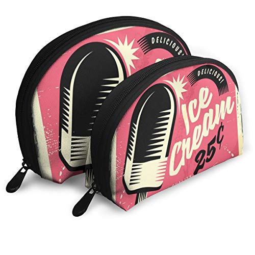 (Retro Fifties Tin Sign With Delicious Ice Cream Women¡¯s Travel Cosmetic Bags Waterproof FabricSmall Makeup Clutch Pouch Cosmetic And Toiletries Organizer Bag Portable Travel Toiletry Pouch)