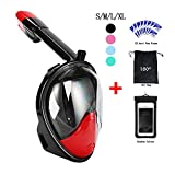 Snorkel Mask 180° view for Adults and Youth. Full Face Free Breathing Design.[Free Bonuses] Cell Phone Universal Waterproof Case (Dry Bag) and Anti-Fog wipes