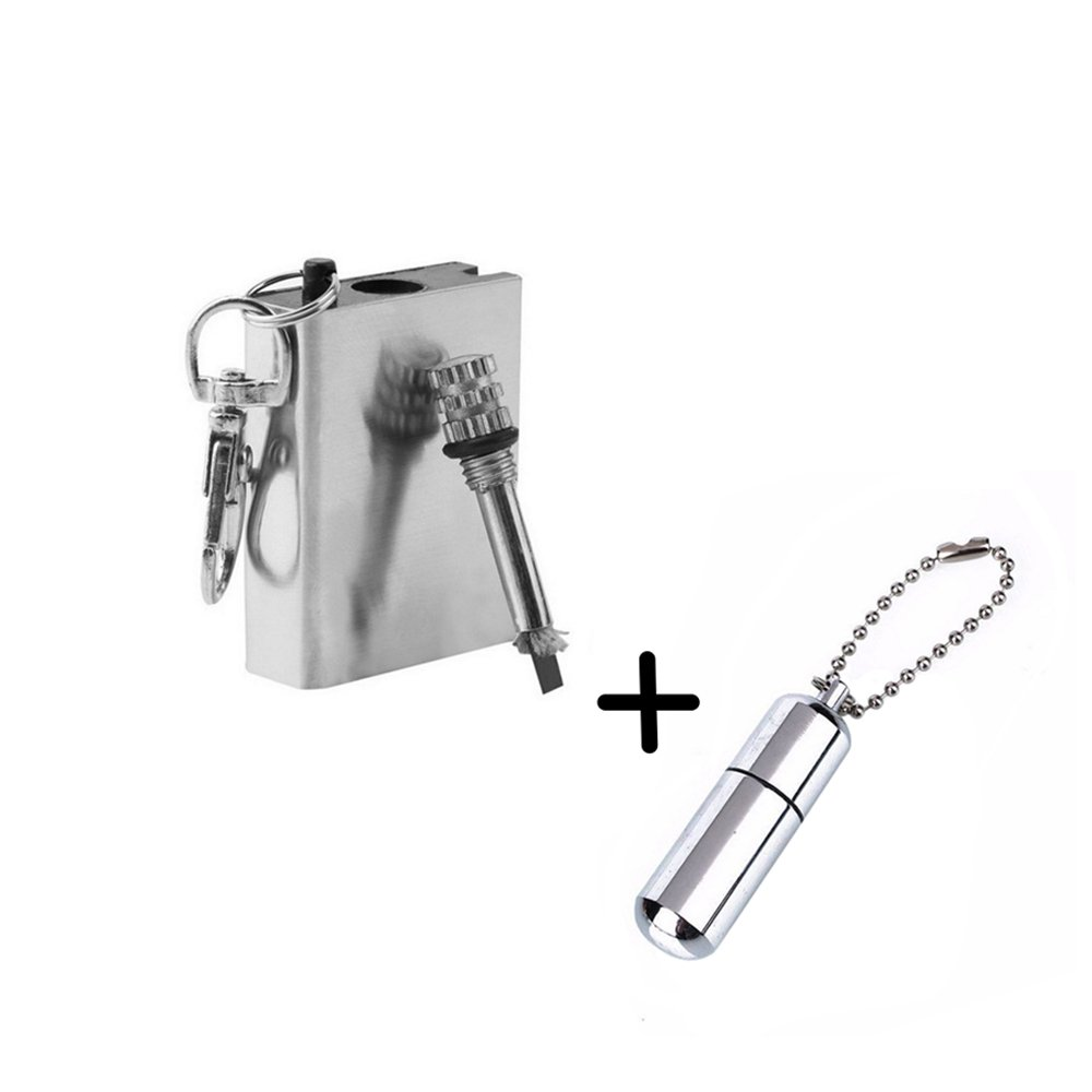 Survival Camping Emergency Fire Starter Flint Match Lighter Cigarette Keychain Square by Meanhoo B017SQ14FS