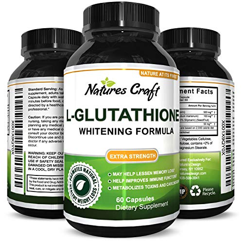 Glutathione Skin Whitening Supplement - Potent Antioxidant with Milk Thistle for Immune System Liver Health Boost Natural Reduced L-Glutathione Anti Aging Detox 650 mg 60 Capsules by Natures Craft