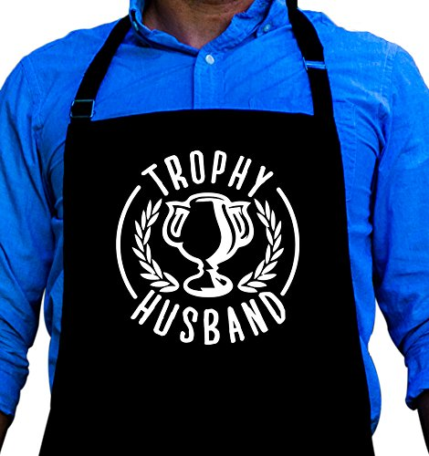 BBQ Grill Apron - Trophy Husband - Funny Apron For Dad - 1 Size Fits All Chef Apron High Quality Poly/Cotton 4 Utility Pockets, Adjustable Neck and Extra Long Waist Ties