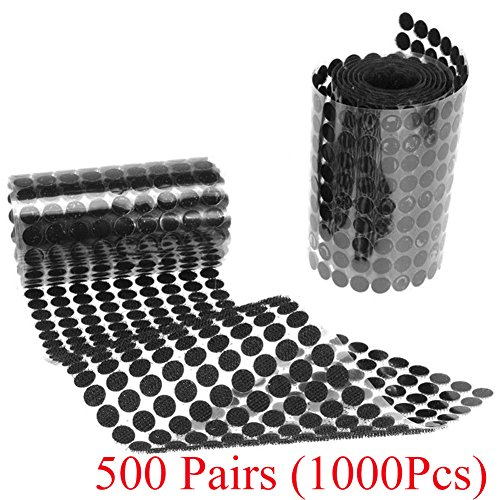 Sticky Back Coins Hook Self Adhesive Fastener Tape Hook Loops Double-Sided Sticky Glue Coins Tapes Perfect Decoration for School Office Home Hanging Sewing Clothing (Black 500 Pairs (1000pcs), 10mm)