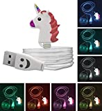 Lightning Cable Cute Cartoon Unicorn Funny Emoji Face Kawaii Charger Cord Data LED Sync 3FT USB Charging for iPad iPhone 7 7 Plus 6 6S Plus 5S 5C SE 4S iOS Devices