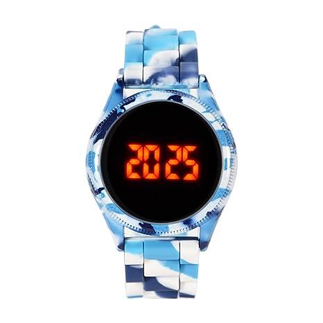 Relojes Digitales 4 Colores Reloj Electrónico de Deportivo Pantalla Táctil LED Correa de Silicona de Camuflaje