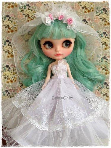 Blythe Doll Pullip Dal Dress Cloth Pullip Dal -Vintage Sweet White Bride Princess Lace Evening (Bride Princess Doll)