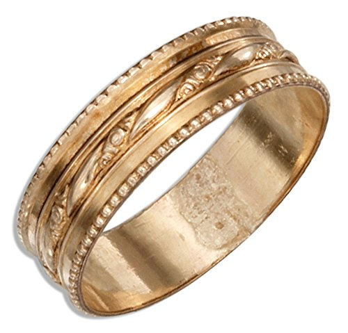 12 Karat Gold Filled Wedding Band Ring with Floral Stripe & Beaded Edges (size 07)