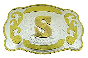 Initial Letters Western Style Cowboy Rodeo Gold Large Belt Buckles (Large Square, S LETTER)