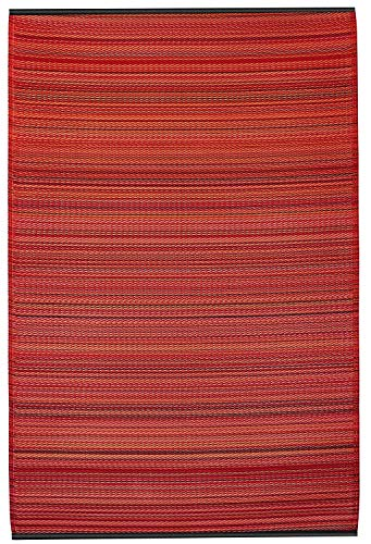 Floor Mat 6 Classic (Fab Habitat Reversible Rugs | Indoor or Outdoor Use | Stain Resistant, Easy to Clean Weather Resistant Floor Mats | Cancun - Sunset, (6' x 9'))