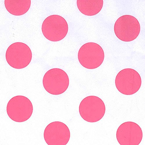 Bright Rose Pink & White Polka Dot Tissue Paper - 20 Inches x 30 Inches - 48 XL Sheets