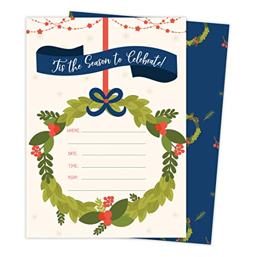 (Christmas #1 Holiday Season Party Gathering Invitations Invite Cards (25 Count) With Envelopes & Seal Stickers Vinyl Party)