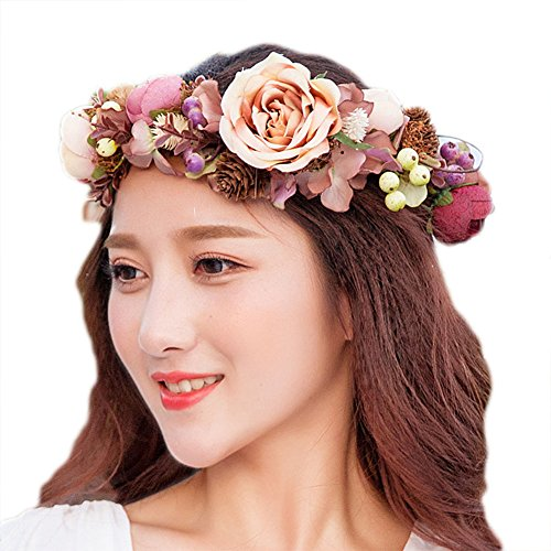 [Bueer Flower Wreath Headband Crown Floral Garland Boho for Festival Wedding (Red015)] (Gold Antler Crown)