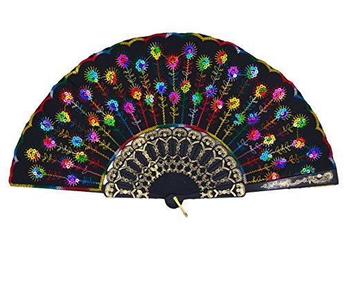 Amajiji Folding Fans for Women,Handmade Elegant Colorful Embroidered Flower Peacock Pattern Sequin Fabric Folding Fans (Multi Color)