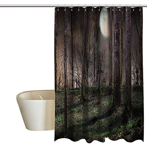 (Anshesix Gothic Decor Collection Home Decor Shower Curtain by Dark Night in The Forest with Full Moon Horror Theme Grunge Style Halloween Photo Non Toxic, Eco-Friendly 108