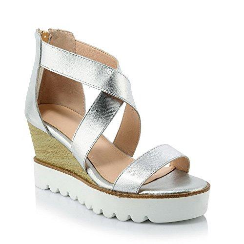 AmoonyFashion Womens High-Heels Soft Material Solid Zipper Open Toe Sandals Silver jX0kol2tL