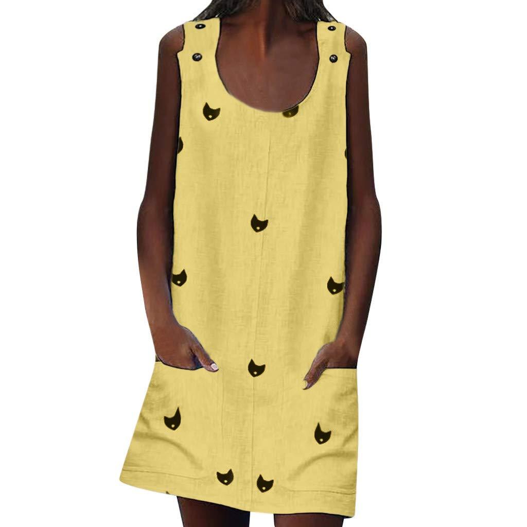 BAOHOKE Cute Cats Printed O-Neck Sleeveless Mini Dress for Women,Summer Tank Tops Pocket A-Line Dresses(Yellow,S)