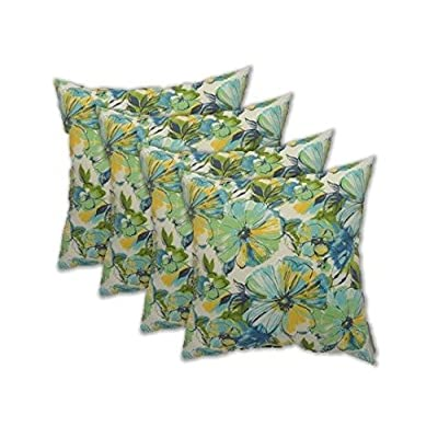 "Resort Spa Home Set of 4 - Indoor/Outdoor Square Decorative Throw/Toss Pillows - Green Yellow Blue Floral Pattern (17"" x 17""): Kitchen & Dining"