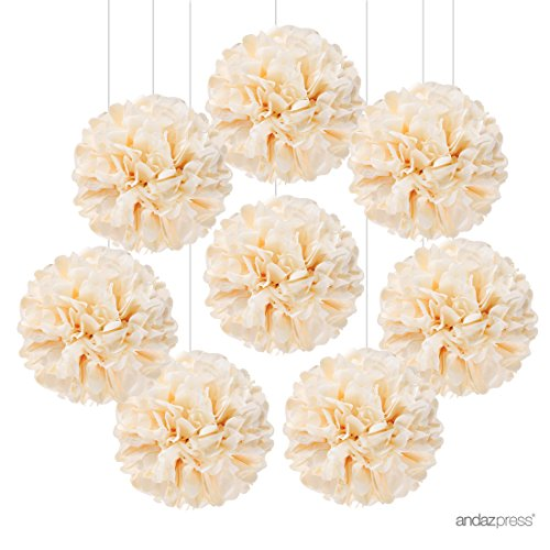Andaz Press Tissue Paper Pom Poms Hanging Decorations, Ivory, 6-inch, 8-Pack, Colored Birthday Party Supplies