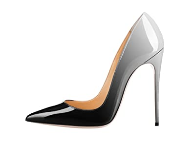 b2c8bdb7bede34 Guoar Women s Stiletto Big Size Court Shoes Pointed Toe Colourful Patent  Pumps for Wedding Party Dress