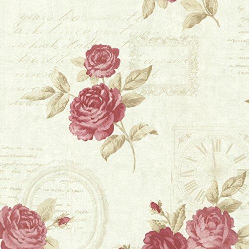 Brewster 2532-20452 Venetia Vintage Rose Toss Wallpaper, Mint