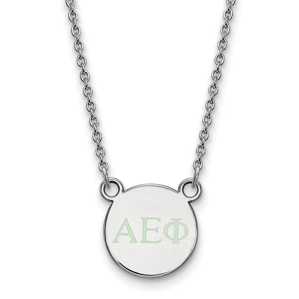 Sterling Silver LogoArt 18in Official Licensed Greek Sororities Alpha Epsilon Phi XS Enamel Pendant w//Necklace