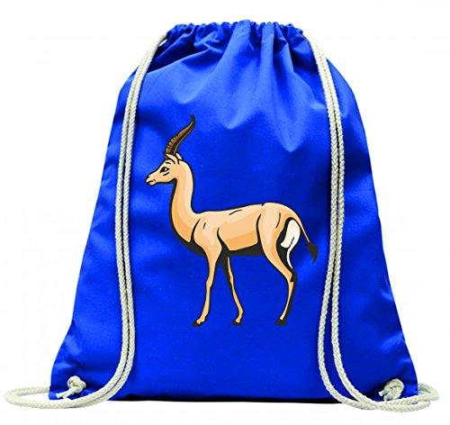 Turnbeutel Büffel galoppiert stolz Afrika Wildnis Freiheit Dschungel mit Kordel - 100% Baumwolle- Gymbag- Rucksack- Sportbeutel Blau fysKdM8I