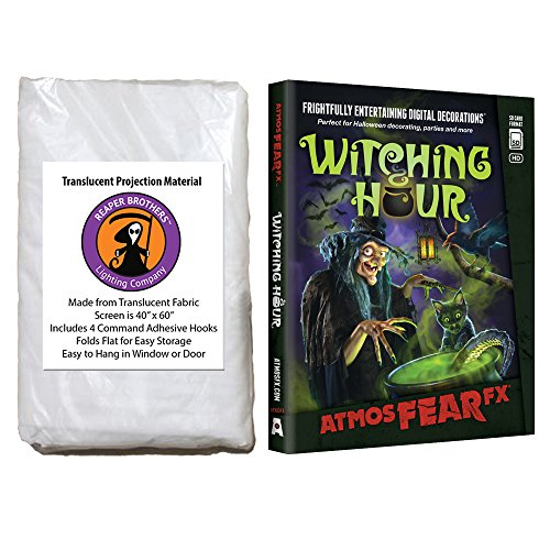 AtmosFearFX Witching Hour SD Card and Reaper Brothers High Resolution Window Projection Screen for Virtual Halloween -