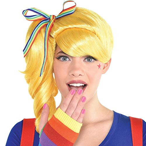 Rainbow Bright Wig (Party City Colorful Light Wig Halloween Costume Accessory for Adults, One)