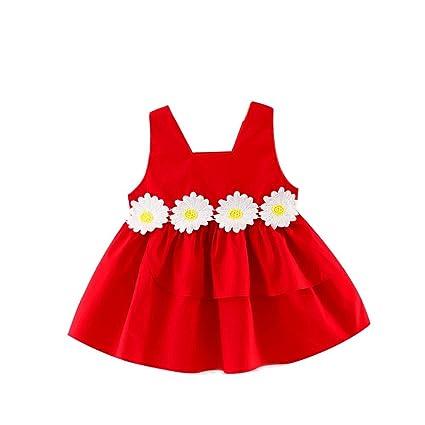 Feixiang Vestido de niña Bebé recién Nacido Ropa de niña Vestido de Encaje sin Mangas Vestido