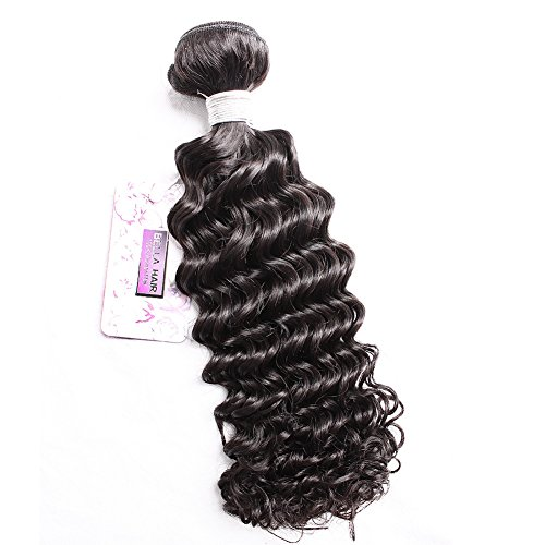 """Bella Hair Brazilian Deep Wave Weft 1 Bundle Natural Color 100% Raw Unprocessed Human Hair Curly Wavy Weave (12"""")"""