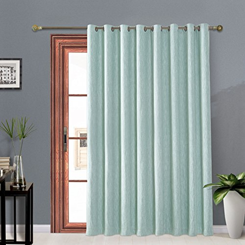 Melodieux Elegant Cotton Wide Blackout Thermal Insulated Grommet Top Curtains for Sliding Glass Door, 100 by 84 Inch, Aqua Blue (1 Panel) ()