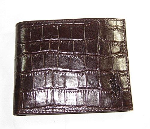 Ralph Lauren Croc Embossed Leather ID Passcase Wallet Dark (Ralph Lauren Croc)