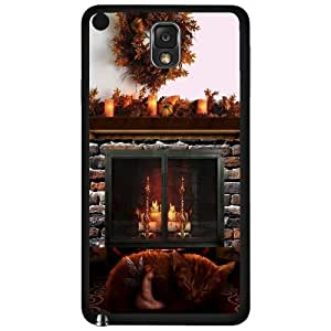 Cat and Angel in Front of Fireplace- Phone Case (Note 3 III) by lolosakes