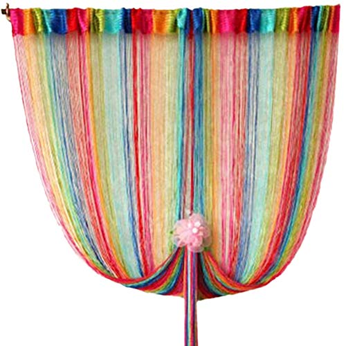 (Norbi Rainbow Tassel String Door Window Room Divider Partition Curtain Valance 1Mx2M)
