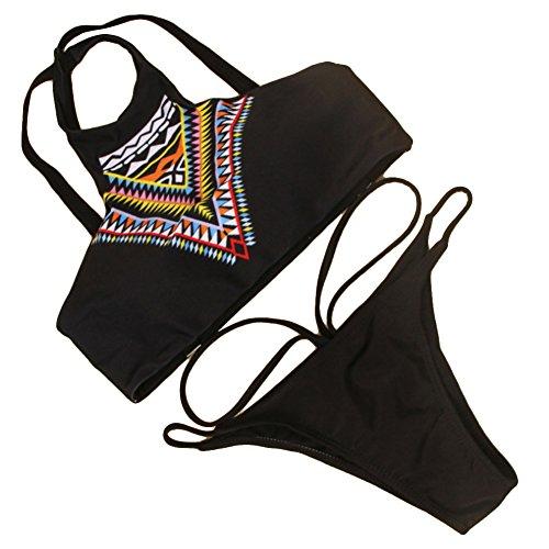 Bikini con almohadillas para mujer, diseño con tiras B