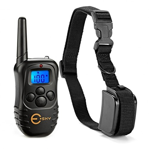Esky LED Backlight Rechargable 330YD Remote Dog Training Shock Collar, Beep Vibration Electronic Electric Collar