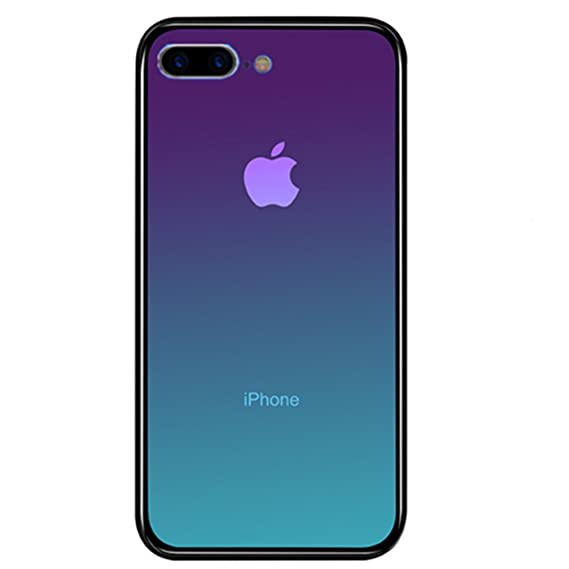 new style 20c65 4a4d7 iPhone 8 Plus Case, Luoming Gradual Colorful Gradient Change Color Tempered  Glass Case Soft TPU Bumper Shock Absorption Phone Cover Case for Apple ...