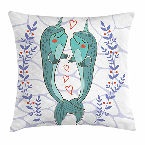 Narwhal Throw Pillow Cushion Cover by Ambesonne, Valenties Day Themed Illustration with Colorful Whales in Love Aquatic Adoration, Decorative Square Accent Pillow Case, 28 X 28 Inches, - Day Valenties Ideas