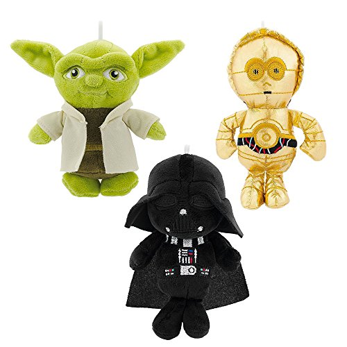 Hallmark Star Wars Yoda, Darth Vader, and C3PO Plush Ornament Set from (3 Item Bundle)